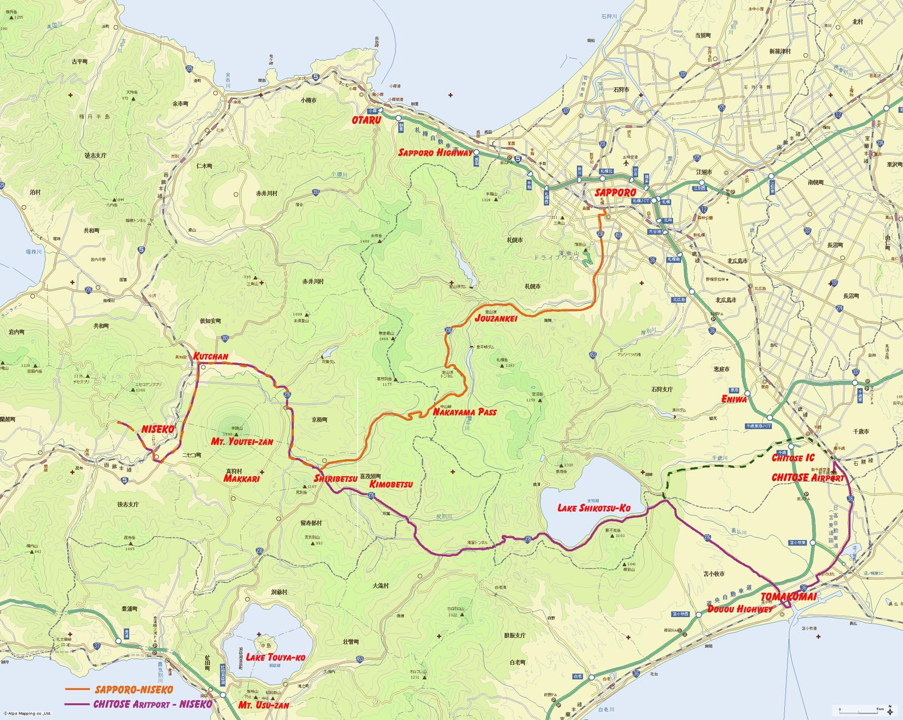 chitose-niseko-map Peak Niseko Car Rental | Pick up/Drop off info